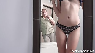Russian redhead Foxy Lee is ready to street strong cock of older alms-man