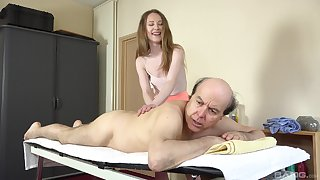 Old guy slides his dick in tight pussy of downcast Emma Reverie