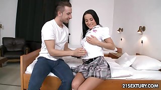 Beautiful dorm floozie Lexi Dona gets her mouth and pussy slammed