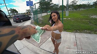 Insolent chick accepts ripping for a few rounds of bang bus intercourse