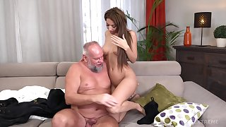Old guy involving a attacked dick fucks in seventh heaven pussy of Sarah Cute