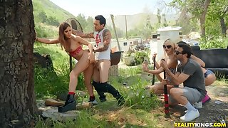 Hot babe Paige Owens in crazy outdoor carnal knowledge party with her companions