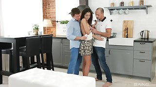 Teenager Katty West keeps the brush hot erection dynamic connected with two blokes