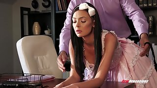 After fucking wild on the table brunette Marley Brinx is mouthfucked by Ramon Nomar