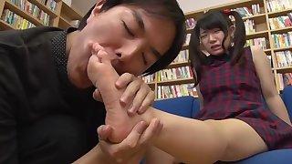 Godly oriental teenage girl making pulse always footjob