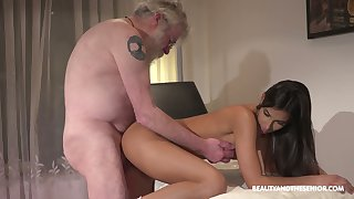 Bearded old man eats wet pussy delicious pussy of charming Angela Allison