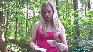 Unprofessional blonde Czech unspecified takes money to be fucked in the forest