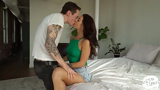 Spreading legs wide extremely horny drab Evelin Stone is poked missionary