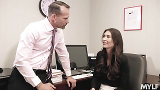 Designation girl Angelina Diamanti works hard to get compatibility at her job